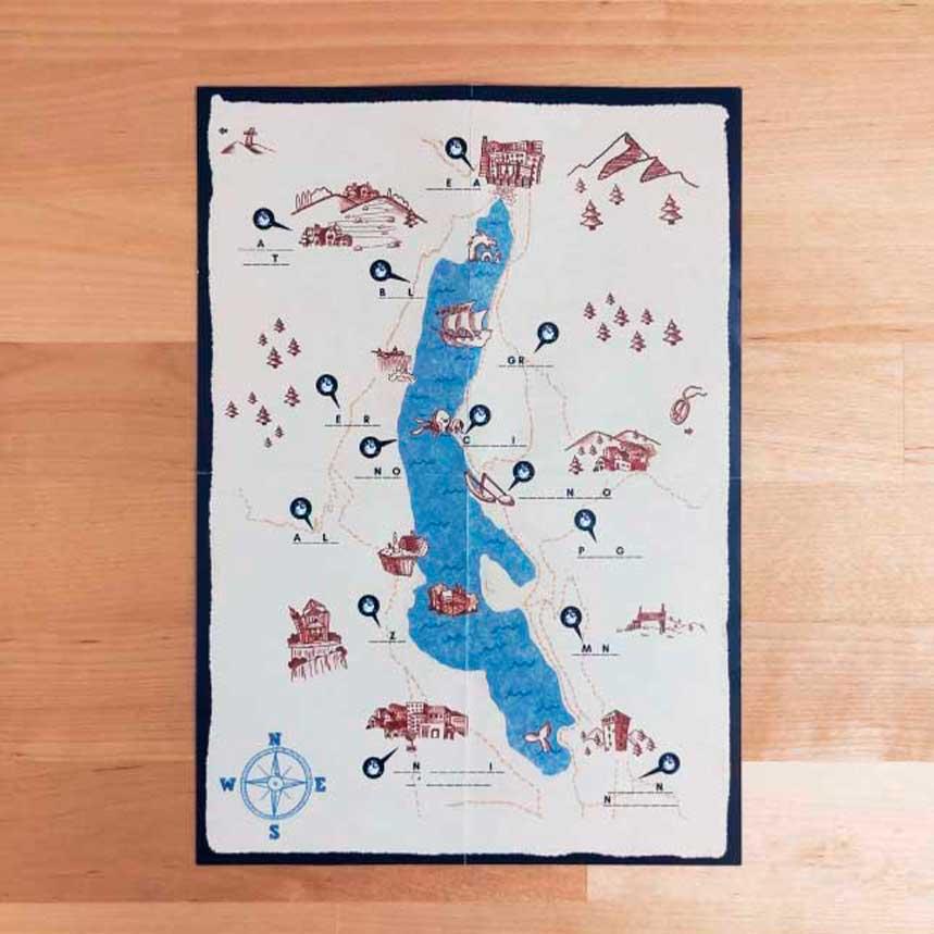 Mappa illustrata per caccia al tesoro dei Pirati del Lago d'Orta